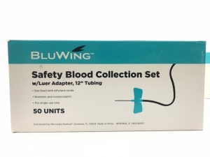 """25G Bluwing Safety Blood Collection Set, Butterfly with Adapter and 12"""" Tubing"""